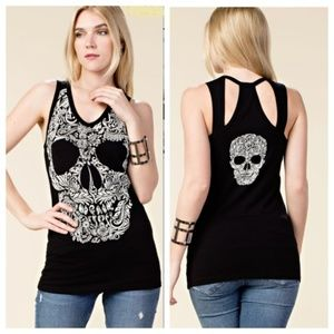 Large Vocal Chrystal Skull Tank Top